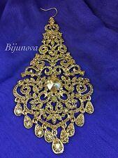 NEW JHUMAR PASSA INDIAN COSTUME JEWELLERY SIDE PIECE TIKKA GOLD TONE GOLD STONE