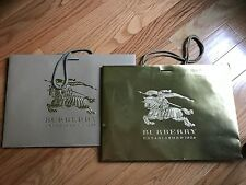 2 lot Burberry holiday gold beige shopping bag 16x12x4
