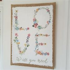 Love Is All You Need Wall Sign - Picture Plaque Floral Hessian