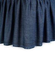 "Studio D Trista Ruffled Denim King Bed Skirt Dust Ruffle 15"" Drop 100% Cotton"