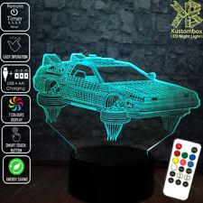 BACK TO THE FUTURE DELOREAN 3D LED BATTERY USB NIGHT LIGHT 7 COLOUR'S REMOTE