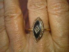 Vtg Ring 14Kt gold Onyx Marquise almond shape woman size 7 Art Deco 1930s 40s
