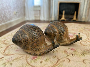 Antique Miniature Hand Sculpted OOAK French Art Pottery Snail Figurines 1930s