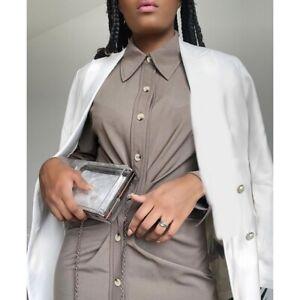 Zara Brown Taupe Beige Midi Draped Shirt Dress Long Sleeve Bloggers Fave UK S