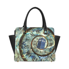 Doctor Who Leather Women Purse Top Handle Tote Style Handbag