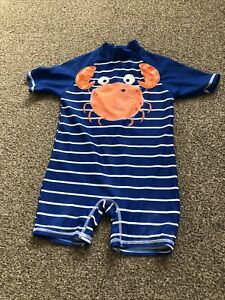 2-3 Years Boys One Piece Swimming Costume Tesco Crab Blue