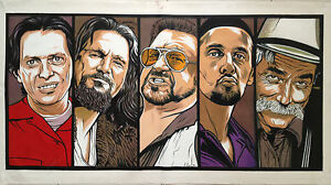 The Big Lebowski Oil Painting Hand-Painted Art on Canvas NOT a Print 24x48 in