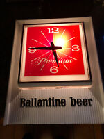 """Vintage Ballantine Premium Beer Clock 15""""x12"""" with Light from 1967 - Working"""