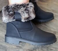 Womans Black Faux Fur Ankle Boots Flat Casual Walking Hiking Warm Ladies New UK