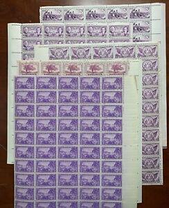 US #772,775,776,802,904 Purple/Violet Sheets of 50 (5).  MNH F (CV $88 Singles)