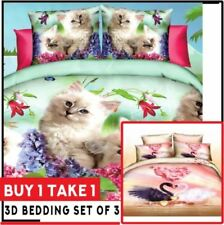 Celebrity Collection 3D Bedding Set Buy 1 Take 1 Cats & Swan - Queen