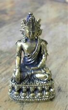 """Brass Crowned Buddha Statue for Dharma in Nepal, Tibet 2 1/4"""" High"""