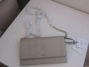BNWT KATE SPADE  GOLD GLITTERY CHAIN MESSENGER BAG WITH CARD HOLDER £175