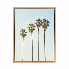 Sylvie Four Palm Trees Natural Framed Canvas Wall Art by Simon Te