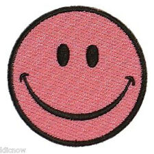 """SMILEY PINK FACE EMBROIDERED PATCH  7CM Dia (2-3/4"""" Dia)"""