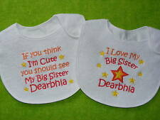 Personalizado Bebé Baberos Twinpack Love Gran Hermano Hermana