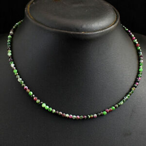Faceted 37 Cts Earth Mined Ruby Zoisite Round Shape Beaded Necklace JK 17E293