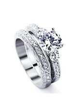 Rhodium Plated Sterling Silver Wedding & Engagement Ring Round 1.5 Carat Sz 5-9