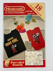 Nintendo Embroidery Iron-On 18 Patterns Vintage Purr-fect Punch 64252 Rare