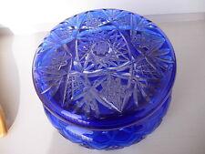 ANTIQUE  Cut to Clear Cobalt Blue Crystal  CZECHOSLOVAKIA  GLASS dresser box
