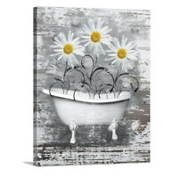 Bathroom Sunflower Pictures Yellow Sink Bath Tub Bee Flower Wall Hanging Plaques