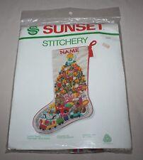 "Christmas Fantasy Stocking Crewel Kit Sunset 2025 To Personalize 18"" Long New"