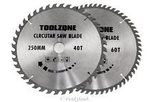 2PC 250mm TCT Circular Saw Blades 40 & 60 Teeth Hardwood, Softwood, Chipboard