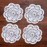 4Pcs/Lot White Vintage Hand Crochet Lace Doilies Round Cotton Table Mats 10cm