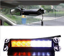 8LED White+Yellow Police Car Vehicle Strobe Flash Light Dash Emergency Warning