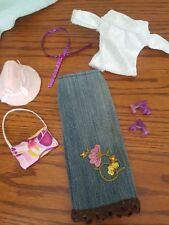 Handmade for Barbie Doll - Glitter & Denim, Skirt, Top, Belt, Hat, Purse & Shoes
