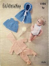 Crochet Baby Doll Clothes Knitting Pattern Copy  4 Ply CAPE dress pants leggings