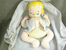 """Vintage HANDMADE CLOTH BABY DOLL with BLANKET 11"""" Yellow Hair Clothes"""