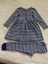 Hanna Andersson 100 Playdress Legging Set Purple Green Blue Stripes Euc