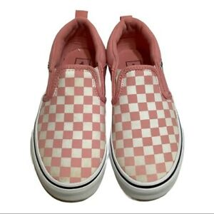 VANS Off The Wall Checkerboard Sneakers size 1 girls slip on pink white