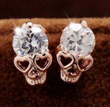 Charm Punk Crystal Rose Gold Skull Shaped Stud Earrings Fashion Women Jewellery