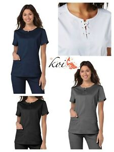 New Koi Stretch Scrubs Missy Top 356 Fashion Navy-White-Black-Steel Color XS-XL