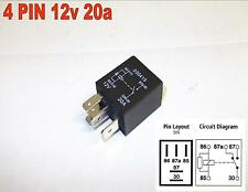 4 pin 12v 20amp micro relais normalement ouvert resister à travers bobine Voiture Vélo (Y5)
