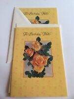 2 Vtg Regent Happy Birthday Hello Greeting Cards Embossed Yellow Roses Ephemera