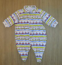 Vintage Carters Baby Sleeper 0-3m Sailboats & Houses Print Cotton Footed EUC