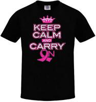 Keep Calm Carry On Breast Cancer Awareness Support Cure Pink Ribbon T-SHIRT