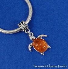 Silver Sea Turtle Dangle Bead Charm - Swimming Turtle fits European Bracelet NEW