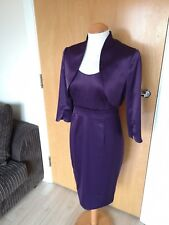 Ladies ADRIANNA PAPELL Dress Jacket Suit Mother of Bride Outfit Size 8 10 Purple
