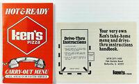 1980's KEN'S PIZZA Vintage Menu & DRIVE THRU INSTRUCTIONS Belleville Illinois