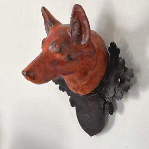 19th Century German Folk Art Carved Wood Dog Head Plaque