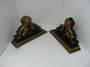 """Vintage Black and Gold Sconces Wall Shelves Brackets Pair 15"""" x 9"""" x 4.5"""" Ornate"""