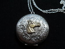 ANTIQUE SILVER HORSE LOCKET  LARGE