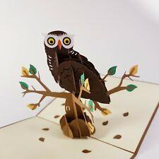 OWL pop-up greeting card (bird, handmade beautiful & unique gift/decor/art)