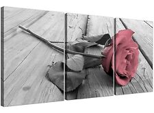 Pale Pink Rose in Black and White - 3 Panel Floral Canvas - 125cm Wide - 3271