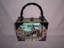 Cigar Box Purse New York Beaded Design Metal Clasp Handcrafted Fully Lined