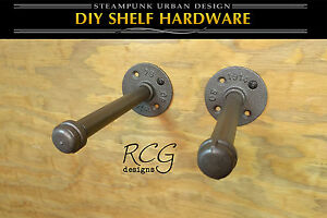 "DIY 7"" Pair Floating Pipe (6"" shelf) steampunk rustic industrial decor"